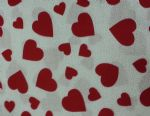 "RED PRINTED HEARTS - 18"" x 22"" Fat Quarter"